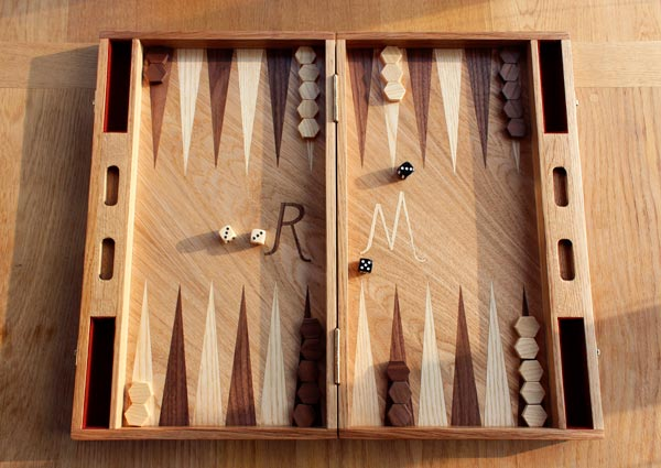 Bespoke handmade backgammon board set oak walnut birthday present