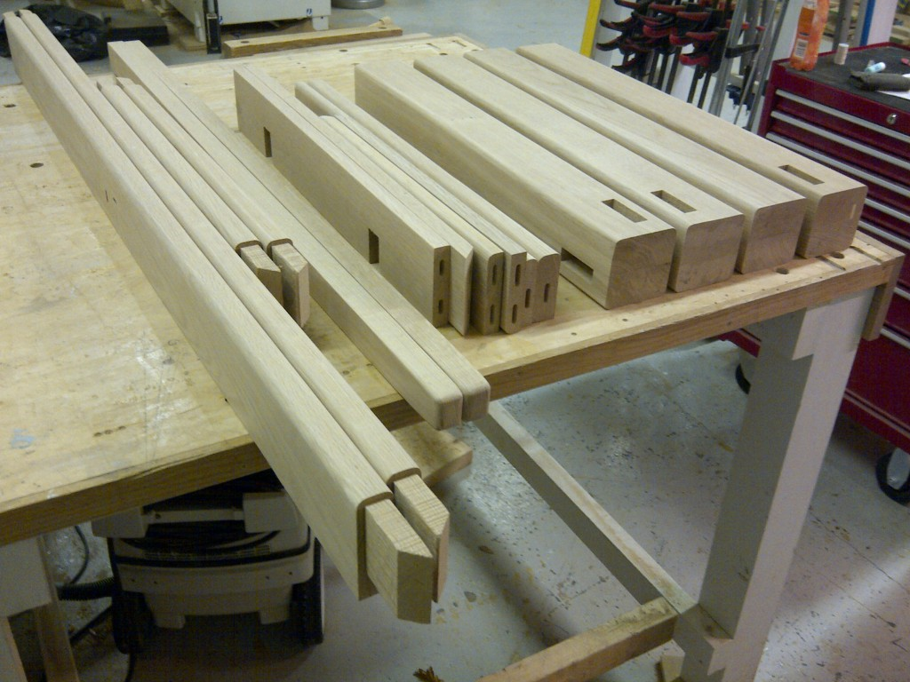 Handmade Oak Kitchen Table Components befoe Assembly