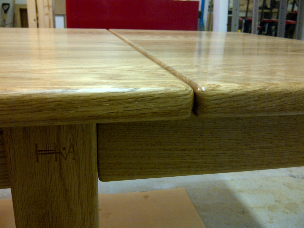 Handmade oak kitchen table with leaf. Bespoke table with leaf