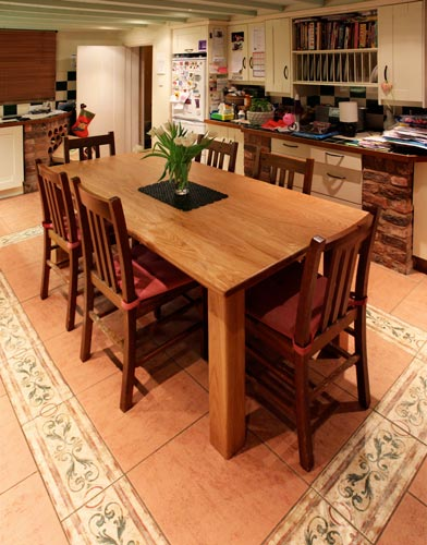 Handmade oak kitchen table, design and made in Cheshire by cabinet maker HM Handmade