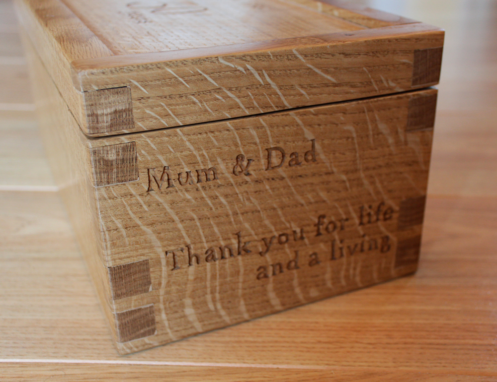 Handmade wooden oak jewellery keep sake retirement box. HM HandMade bespoke cabinet makers of handmade furniture in Cheshire, Chester, Liverpool and the Wirral