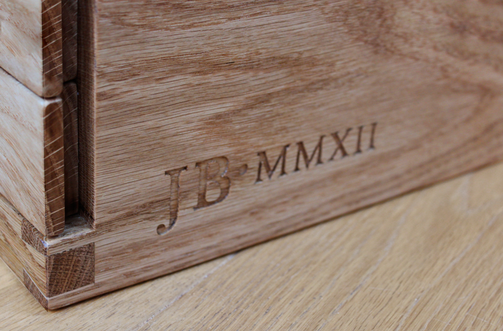 Hand carved inscription on handmade bespoke jewellery cabinet by HM HandMade, Cabinet and furniture makers in Chester, heshire, Wirral and Liverpool