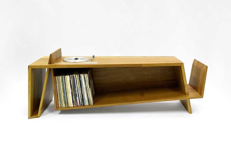 Folded Record Bureau by Hugh Miller, handmade furniture designer and cabinet makers and furniture designers in Liverpool, Cheshire, Wiiral and Chester