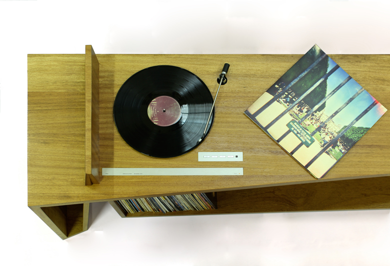 Folded Record Bureau with record playing by Hugh Miller, handmade furniture designer and cabinet makers and furniture designers in Liverpool, Cheshire, Wiiral and Chester