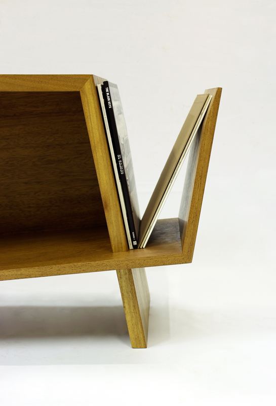 Folded Record Bureau magazine/record rack by Hugh Miller, handmade furniture designer and cabinet makers and furniture designers in Liverpool, Cheshire, Wiiral and Chester